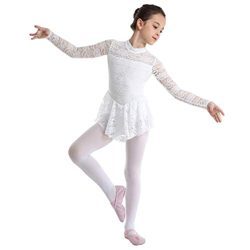 ranrann Kids Girls Ballet Dance Floral Lace Cutout Back Gymnastic Leotard Dress Stage Performance White 9-10