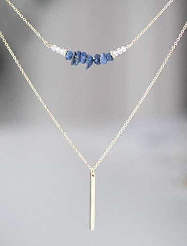 Blue Lapis Lazuli Chips Beads Stone Bar Necklace ()