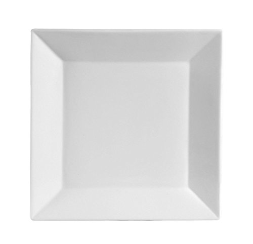 10.5 Inch Porcelain Square Dinner Plates - 6 Packs, White -