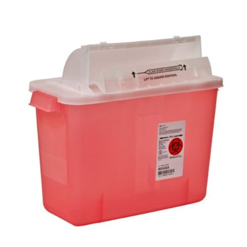 Covidien 8534SA SharpSafety Safety in Room Sharps Container Counterbalance Lid, 2 gal Capacity, Transparent Red (Pack of 10) by COVIDIEN