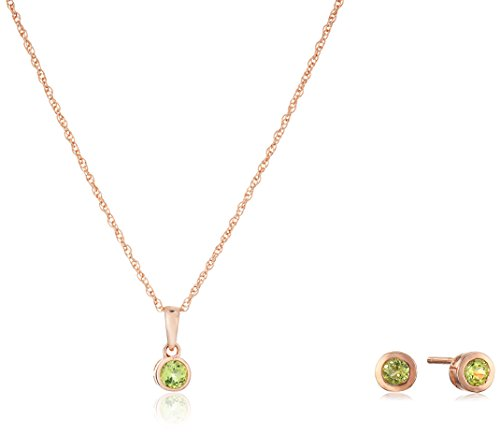 Girls' Petite 14k Rose Gold Plated Sterling Silver Peridot Stud Earrings and 16