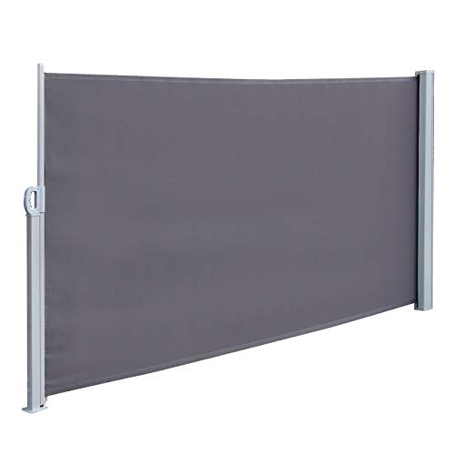 Dyna-Living Retractable Side Awning Patio Waterproof Sun Shade Screen Divider w/Handle 118.1