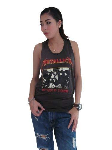 Bunny Brand Women's Metallica Concert World Tour Rock T-Shirt Tank Top Vest (Large, Black)