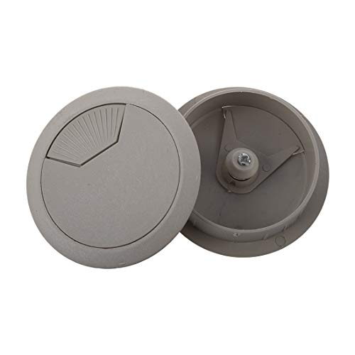 Fasmodel - 2 Pcs Light Gray Round Plastic Desk Grommets Wire Hole Cap Cover
