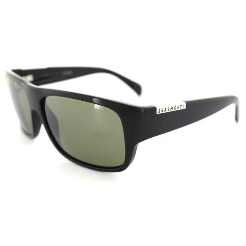 Serengeti Monte Sunglasses, Shiny Black with Polarized Lens