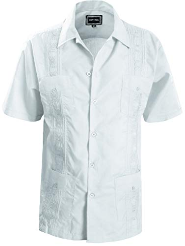 - Guytalk Men's Guayabera Embroidered Classic Cuban Wedding Shirts Large White