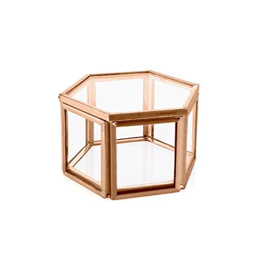 - Koyal Wholesale Modern Rose Gold Geometric Hexagon Glass Ring Box, 3 x 1.5 inch Terrarium for Proposal, Engagement, Wedding Ceremony, Ring Bearer, Gift, Keepsake, Jewelry Organizer Display Case