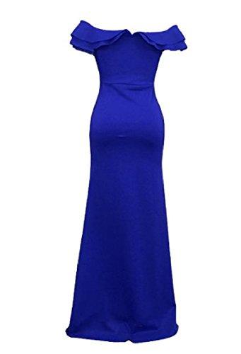 Waist Off Party Dress Skinny Shoulder Empire Blue Women Coolred Split Flouncing Gown qan4ptUwxX