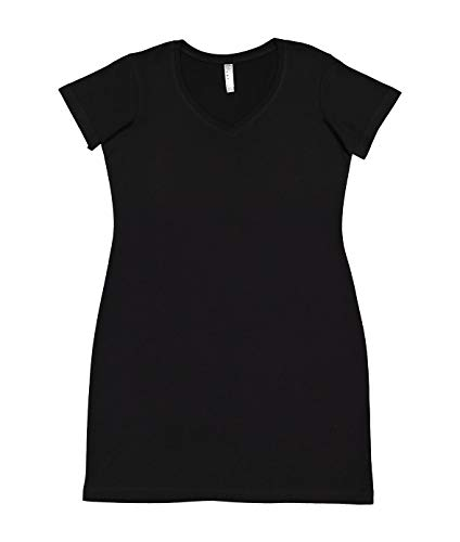 Lat Womens Fine Jersey Crossover V-Neck Coverup Dress,Black,XX-Large/XXX-Large