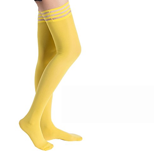 kid Silicone Lace Top Opaque Thigh High StockingsBright yellowA ()