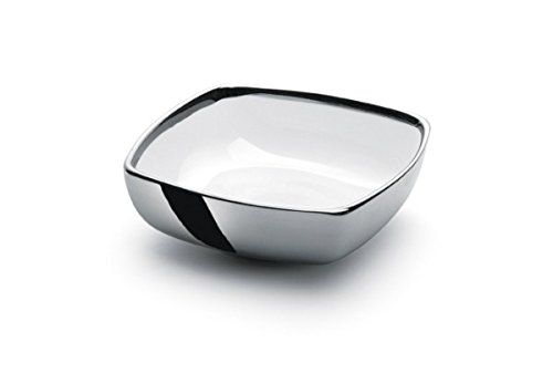 (Square White and Silver Plated 925 Sterling Serving Bowl)