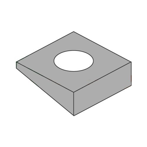 1/2'' Square Bevel Malleable Iron Washers, Zinc RoHS Compliant (Quantity: 600 pcs) - Inside Diameter: 1/2'' inches