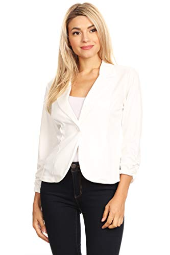 (Solid Basic Ruched Sleeve Buttoned Business Casual Blazer Jacket/Made in USA Off White S)
