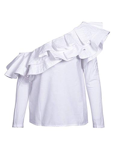 Volants Une avec Blouse Manches Longues Printemps Elgante Chemise Blanc Fit Epaule Dsinvolte Rayures Femme Shirt Spcial Style Et Branch Haut Slim Dame Xq0Xwt