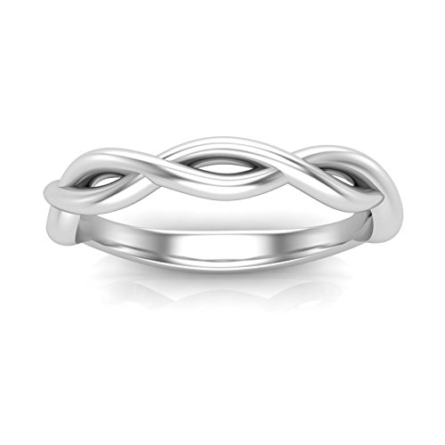 White Gold Twisted Band Infinity Wedding Band Solitaire Band Plain Band Infinity Style Band Delicate Band Unique Band Twist Design Stackable Band Vintage Art Deco Band For Her 10K or 14K