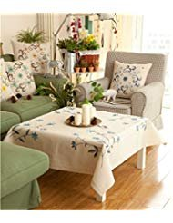 Ethomes cream cotton fabric tablecloth stamped cross stitch kit for embroidery approx 22 x 22 inch