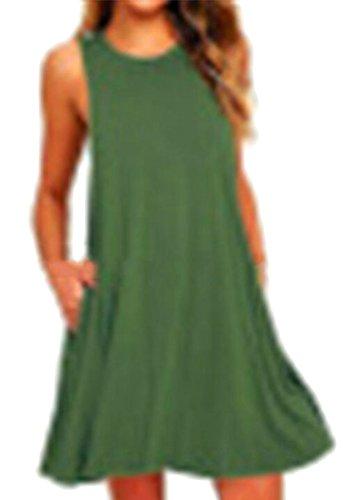 Abiti Donne Tasche Allentata Ainr Verde Maniche T shirt Senza Casuale Oscillazione Esercito Delle x0wwBnqp7