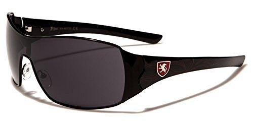 Khan homme rectangle Lunettes de soleil Enveloppantes parfait pour sport ou conduite COMPLET UV400 Protection GRATUIT vibrant Hutt poche inclus noir/rouge / verre fumé