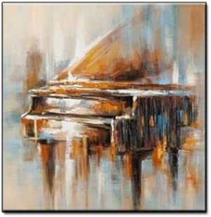 BO LAI DE Abstract Vintage Hand Painted Piano Oil Painting Canvas Wall Art Oil Paintings Abstract Wall Pictures Handmade Wall Art for Wall,70cmx100cm