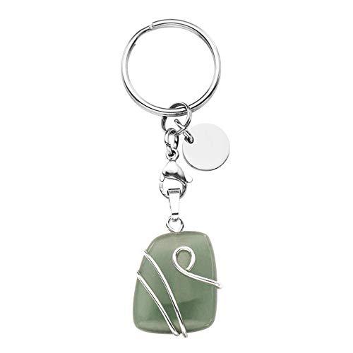 Natural Gemstone Keychain - CrystalTears Wire Wrapped Green Aventurine Natural Gemstone Pendant Keychain Healing Crystal Chakra Reiki Quartz