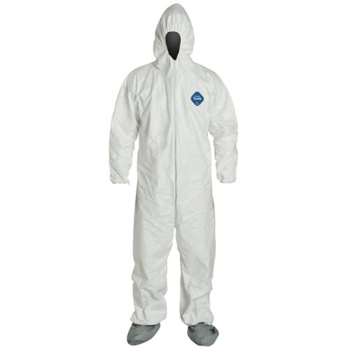 DuPont TY122S-XL-EACH Disposable Elastic Wrist, Bootie and Hood Tyvek Coverall Suit 1414, X-Large, White -