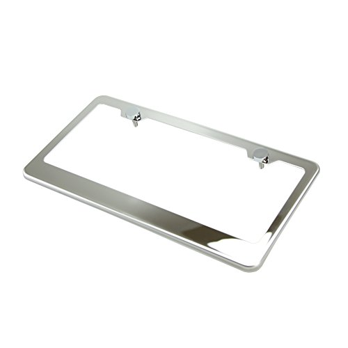(Circle Cool T304 Stainless Steel Polish Mirror License Plate Frame Holder Tag w/ Chrome Metal Cap)
