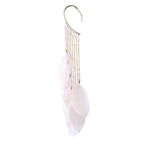 - LIM&Shop Feather Single Ear Cuffs Non Piercing Earring Wrap Long Bohemian Fringe Tassel Leaf Beeded Drop Women Girls