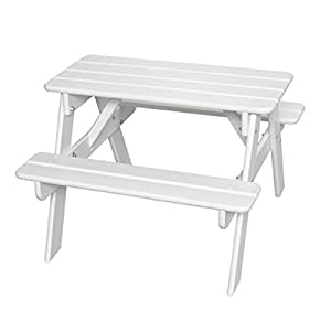 Little Colorado Kids' Picnic Table, Wooden Picnic Table, Portable Picnic Table, White