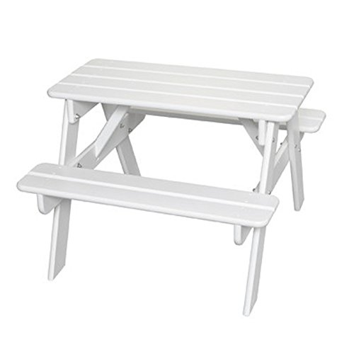 Little Colorado Kids' Picnic Table, Wooden Picnic Table, Portable Picnic Table, White (Colorado Picnic Tables Furniture Outdoor)
