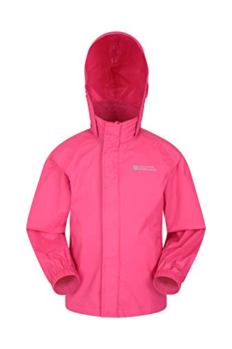 Mountain Warehouse Pakka Kids Rain Jacket - Waterproof, Packable Bright Pink 3-4 Years