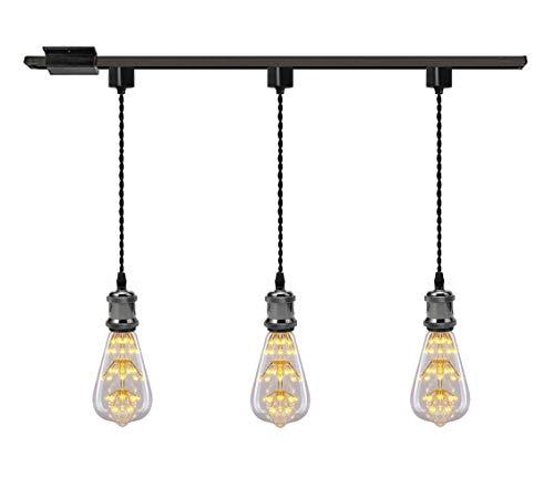 Kiven 1-Light H System Track Mini Pendant, Pearl Black Finish Lamp Holder Fitting Track Light Kit, Rose Pendant Braided Fabric Flex Cord Length 15.75 in,TB0123-40CM