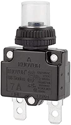 DIYhz 15Amp Circuit Breakers Thermal Overload Switch Protector 88 Series Manual Push Button Reset with Quick Connect Terminals and Waterproof Button Cap 32VDC or 125//250VAC