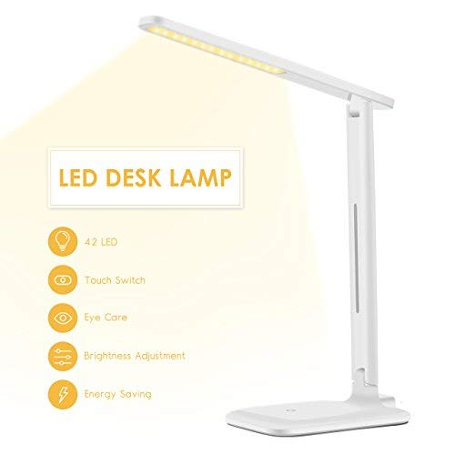 LED Desk Lamp, LITOM 2019 Upgraded Office Desk Lamp with 9 Light Mode, Touch Control, Memory Function, Eye-Caring, Foldable Dimmable, Table Lamp for Reading, Studying, Working, White