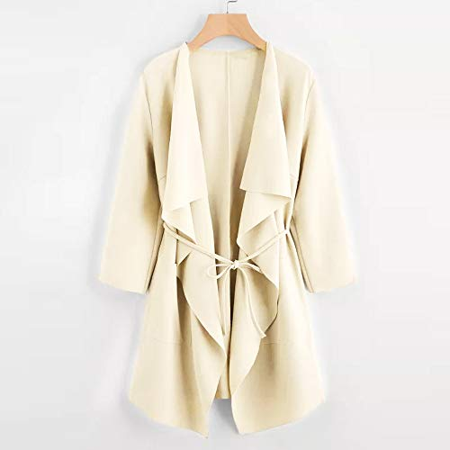 Solid Fall Coat Front Womens Belt Coat Trench Cardigan Draped Beige with Waterfall Lightweight Keepwin Open Winter Trench WgEIXqqfB