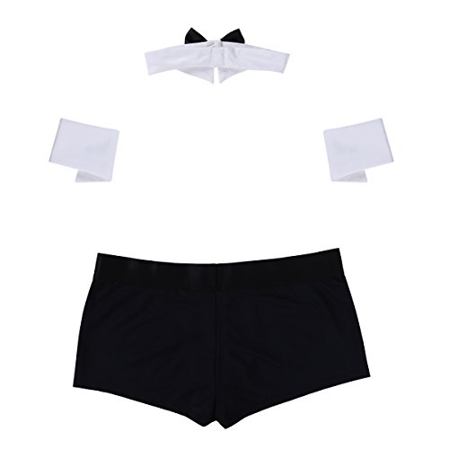 CHICTRY Men's Lingerie Set Butler Waiter Tuxedo G-String Underwear Bow Tie Collar and Bracelets Black&White Boxer Large