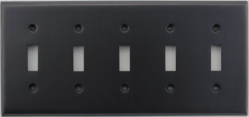 Classic Accents Stamped Steel Oil Rubbed Bronze Five Gang Toggle Light Switch Wall Plate