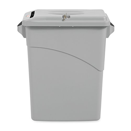 Rubbermaid Commercial Slim Jim Confidential Document Trash Can with Lid, 16 Gallon, Gray, FG9W2500LGRAY (Renewed)