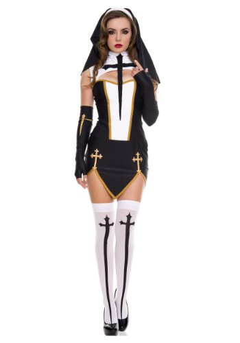 Music Legs Bad Habit Nun Costume Black/White
