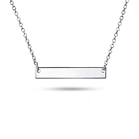 Sterling Silver Pendant Necklace with Plain Straight Horizontal Bar Charm, Rhodium Plated 925 Silver, Adjustable Chain Length 16