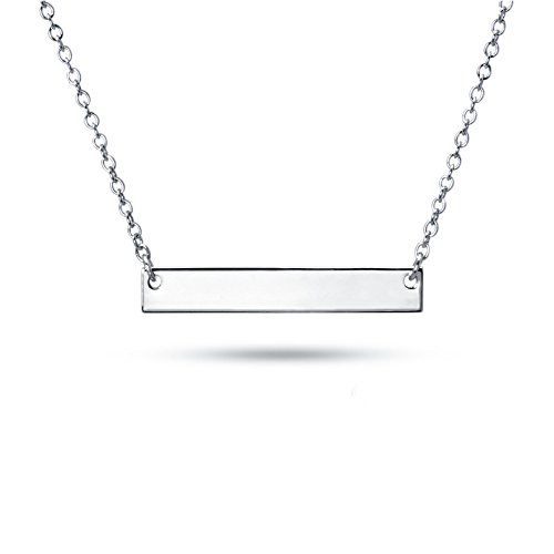 Sterling Silver Pendant Necklace with Plain Straight Horizontal Bar Charm, Rhodium Plated 925 Silver, Adjustable Chain Length 16'' - 18'', with Jewelry Box by Fifth Ave Fair