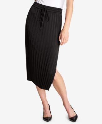 (DKNY Pleated Midi Skirt (Black,)