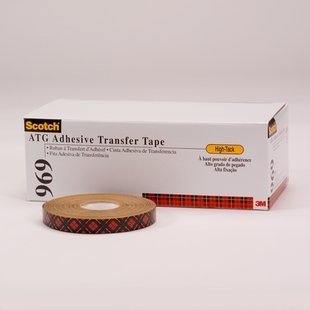 3M Scotch 969 Clear Transfer Tape - 1.5 in Width x 5 mil Thick - Densified Kraft Paper Liner - 24254 [PRICE is per CASE]