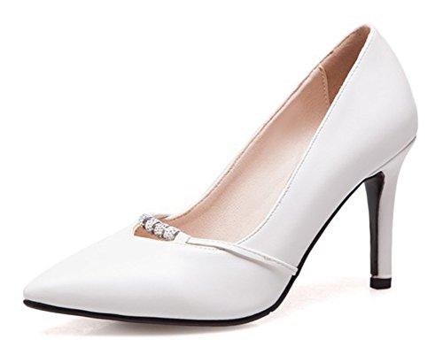 Las Mujeres De Aisun Sexy Rhinestone Del Estilete Del Tacón Alto De Vestir De Corte Bajo Slip On Puinted Toe Bombas Zapatos Blancos
