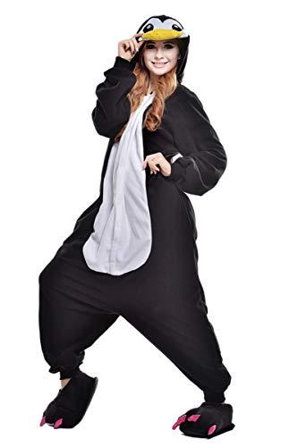 Cokle Adult Cartoon Pajamas One Piece Sleepsuit Hooded Lounge Sleepwear Animal Costumes Black Penguin S ()