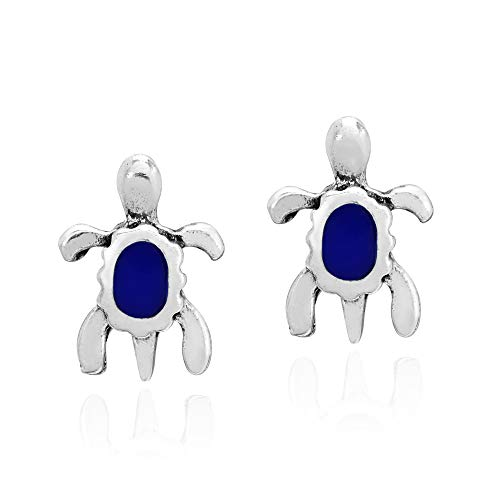 Tiny .925 Sterling Silver Sea Turtles with Simulated Blue Lapis-Lazuli Inlay Stud Earrings
