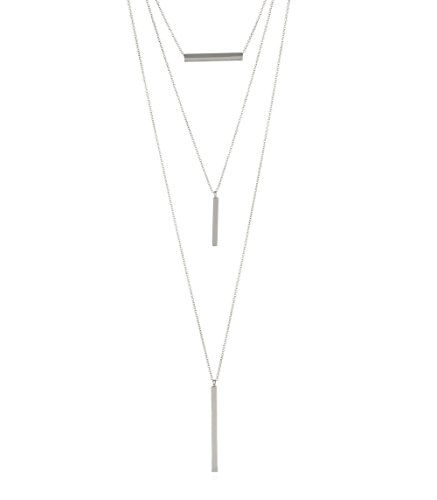 INPINK Fashion Jewelry Ingot Set of Three Layering Necklaces in Silver-Tone