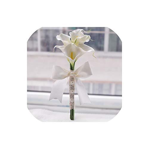 Yellow Calla Lily Wand for Bridesmaid Flower Girl Keepsake Mini Flower Wand Wedding Bouquet Bridal,Ivory