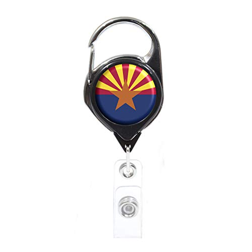 Arizona Christmas Saguaro Lights - Officially Needed-Arizona State ID Badge Holder Retractable, Black Carabiner Badge Clip | Great for Holding Name Tags, Light Tools Like Nail Clippers | Gifts for Teachers, Nurses, Professionals