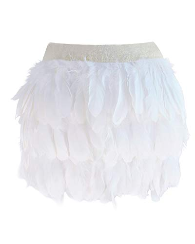 Womens Mid Waist A-line Real Natural Feather Skirt White Large