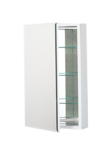 Robern PLM2430WB PL Series Flat Beveled Mirrored Door, 23-1 4-Inch W by 30-Inch H by 3-3 4-Inch D, White Interior